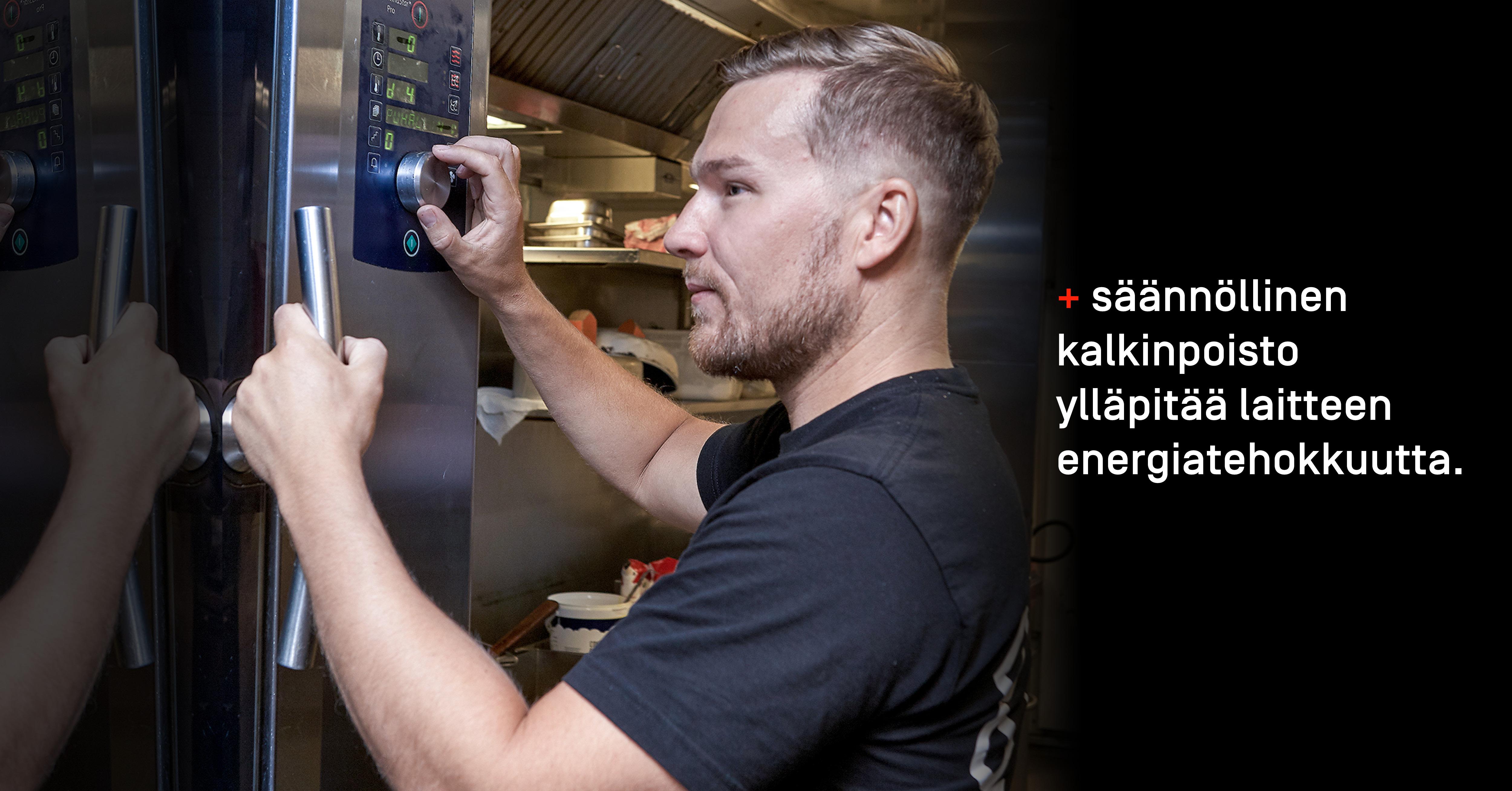 Säännöllinen kalkinpoisto ylläpitää laitteen energiatehokkuutta.