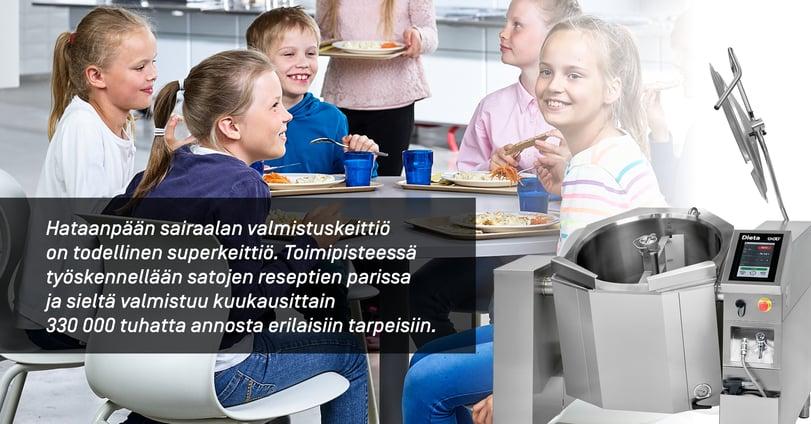 Pirkanmaan Voimian Hatanpään sairaalan valmistuskeittiössä työskennellään satojen reseptien parissa.