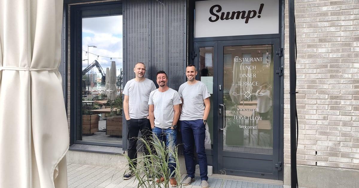 Ravintola SUMP:n yrittäjät Mikko Mäkelä, Markus Lehtimäki ja Juha Pitkänen