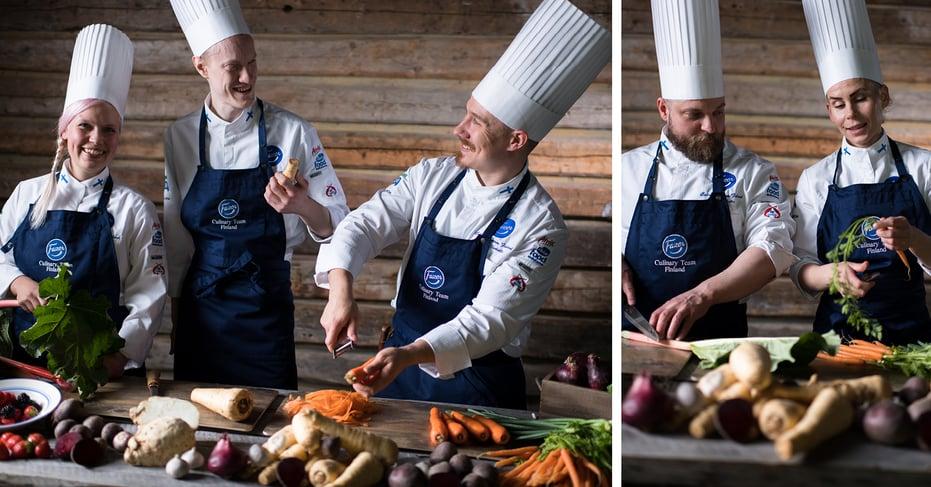 Fazer Culinary Team Finland harjoittelemassa Stuttgartin olympialaisiin.