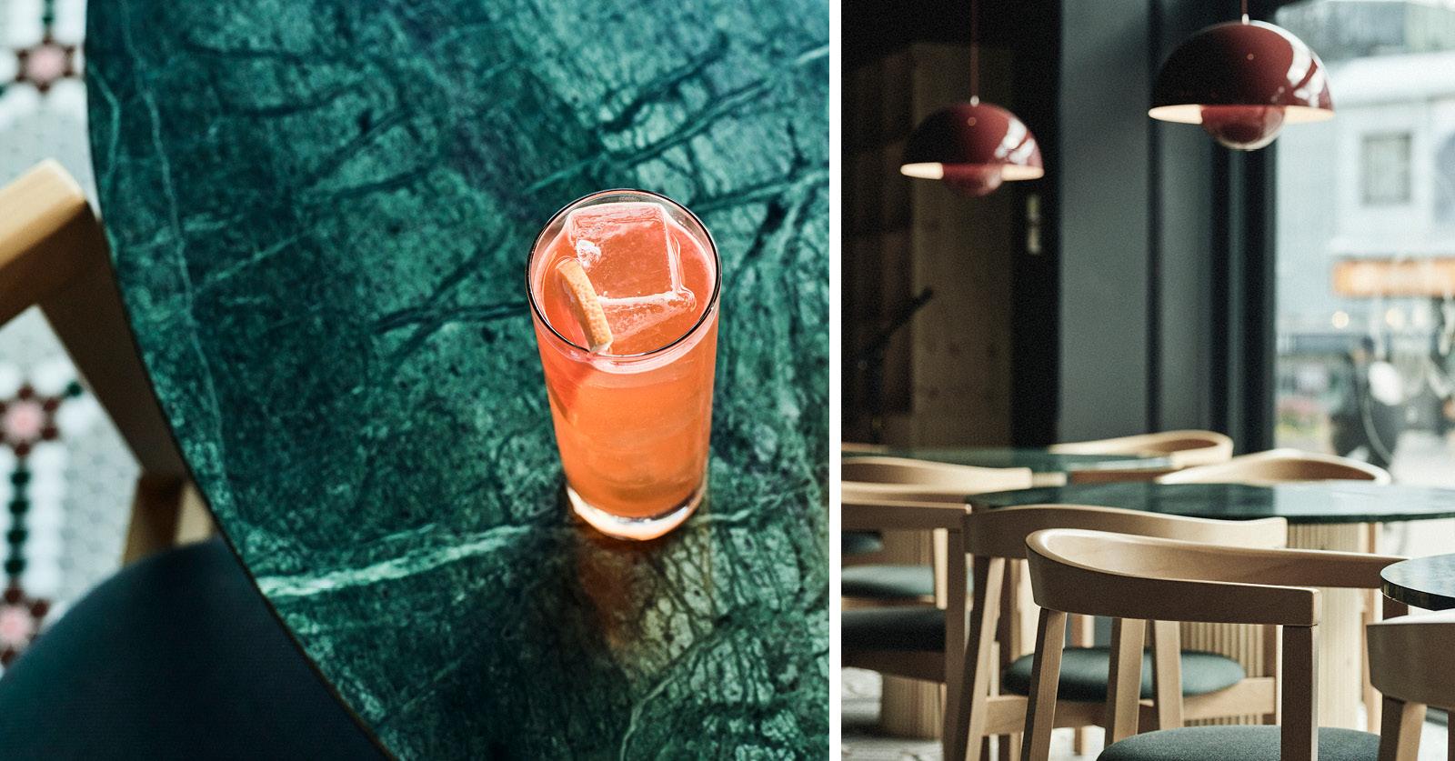 Mosaiikkilattian lisäksi vihreä marmori oli ehdoton elementti, joka ravintoaan haluttiin. Nämä toiveet annettiin eteenpäin Yo Zen -arkkitehtitoimistolle, joka lähti tältäpohjalta toteuttamaan tunnelmallista kokonaisuutta. Kuvat: Petri Teppo – Studio Artica