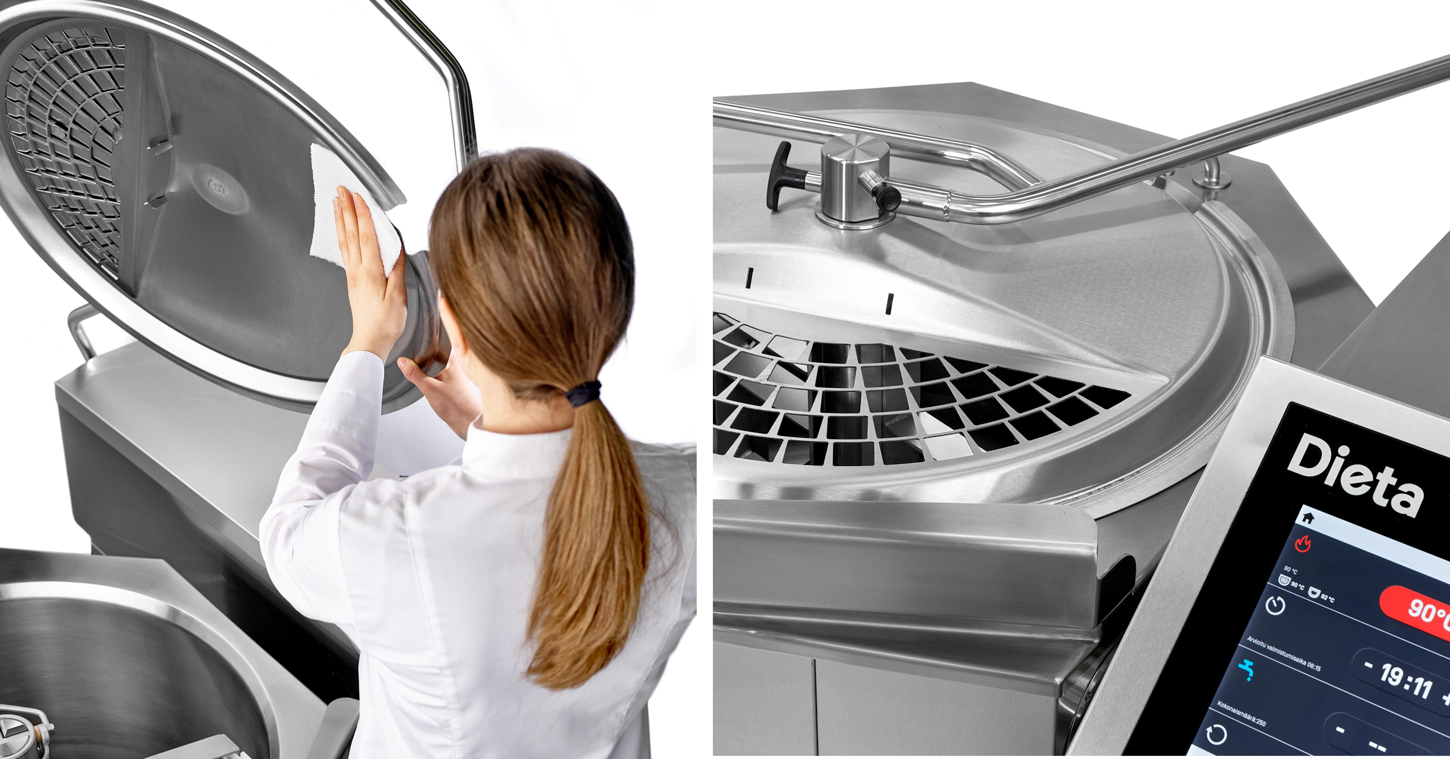 Padan kansi on kätevästi puhdistettavissa ja sen suuri syöttöaukko helpottaa raaka-aineiden lisäämistä.